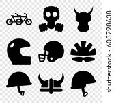Set Of 9 Helmet Filled Icons...