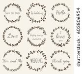 Hand Drawn Floral Wreath With...