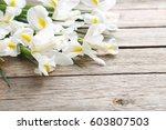 bouquet of iris flowers on grey ... | Shutterstock . vector #603807503