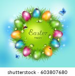 grass circle with bright... | Shutterstock . vector #603807680