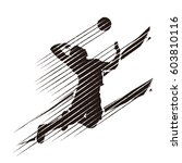 silhouette of volleyball player ... | Shutterstock .eps vector #603810116