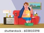 sick ill sad man character...   Shutterstock .eps vector #603810398