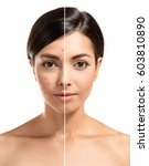 woman face before and after... | Shutterstock . vector #603810890