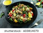 smoked mackerel salad with warm ... | Shutterstock . vector #603814070