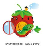Small house-strawberry for a cheerful caterpillar - stock photo