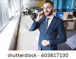 portrait of young businessman... | Shutterstock . vector #603817130