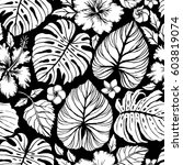 Stock vector aloha hawaiian shirt seamless background pattern tropical flowers and leaf palm gibiscus 603819074