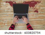 man hand working on laptop... | Shutterstock . vector #603820754