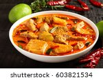delicious goan fish curry with... | Shutterstock . vector #603821534