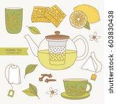 herbal tea  collection of hand... | Shutterstock .eps vector #603830438