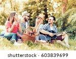 happy young friends having... | Shutterstock . vector #603839699