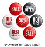 set of glossy sale buttons or... | Shutterstock .eps vector #603842834