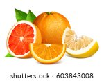 fresh citrus fruits with leaves.... | Shutterstock .eps vector #603843008