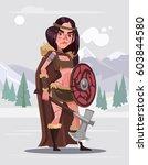 viking woman warrior character... | Shutterstock .eps vector #603844580