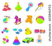 set 16 cartoon vector kids toys   Shutterstock .eps vector #603846953