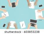 business meeting flat concept... | Shutterstock .eps vector #603853238