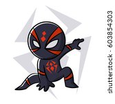 superhero black spider sticker... | Shutterstock .eps vector #603854303