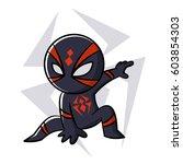superhero black spider sticker... | Shutterstock .eps vector #603854303