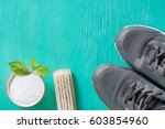 cleaning shoes washing the... | Shutterstock . vector #603854960