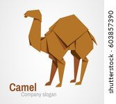 camel logo origami isolated on... | Shutterstock .eps vector #603857390