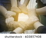 Small photo of Conceptual image of teamwork by hand ,catch wrist by clinging continue happened from muscle of hand, Human Hand, Connection, Teamwork, people stand around the world and hold hands