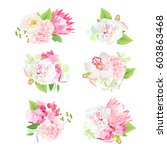 mini spring mixed bouquets of... | Shutterstock .eps vector #603863468