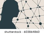 silhouette of a woman's head.... | Shutterstock .eps vector #603864860