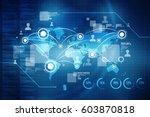 2d illustration world map... | Shutterstock . vector #603870818