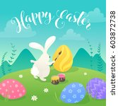 easter greeting card with white ... | Shutterstock .eps vector #603872738
