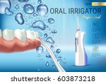 electric oral irrigator ads.... | Shutterstock .eps vector #603873218