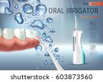 electric oral irrigator ads.... | Shutterstock .eps vector #603873560