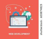 web development flat concept... | Shutterstock .eps vector #603874823