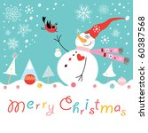 postcard funny snowman with a... | Shutterstock .eps vector #60387568