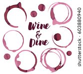wine spots and spill  vector | Shutterstock .eps vector #603880940