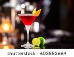 closeup glass of cosmopolitan...   Shutterstock . vector #603883664