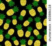 pattern of pineapple.  | Shutterstock .eps vector #603886118