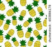 pattern of pineapple.  | Shutterstock .eps vector #603886178