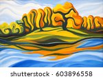 autumn landscape. river and... | Shutterstock . vector #603896558