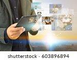business man working on virtual ... | Shutterstock . vector #603896894