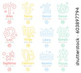 set of  line art zodiac signs.... | Shutterstock .eps vector #603897794