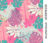 exotic palm tree leaves pattern ... | Shutterstock .eps vector #603898100