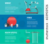 fitness training and gym club... | Shutterstock .eps vector #603903926