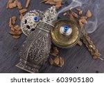 silver oriental artisitc... | Shutterstock . vector #603905180