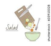 vector illustration of salad... | Shutterstock .eps vector #603910328