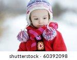 Little Winter Baby Girl In Red...