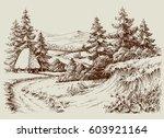 rustic house in alpine... | Shutterstock .eps vector #603921164