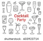 set of cocktails and alcohol... | Shutterstock .eps vector #603923714