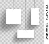 vector 3d white hanging frames... | Shutterstock .eps vector #603925466