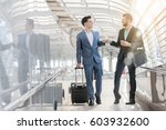 two westerner business men talk ... | Shutterstock . vector #603932600
