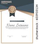 vector certificate template. | Shutterstock .eps vector #603933134